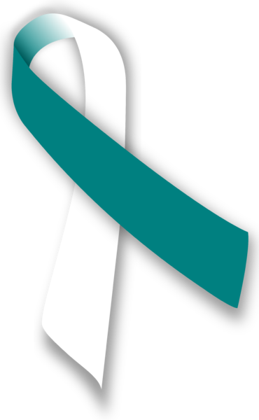 Teal and White Ribbon for Cervical Cancer